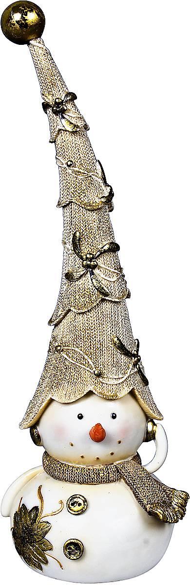 """Статуэтка Mister Christmas """"Снеговик"""", цвет: белый, золотистый, высота 30 см"""