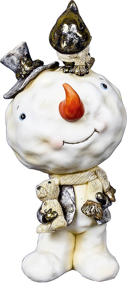 """Статуэтка Mister Christmas """"Снеговик"""", цвет: белый, зеленый, высота 14,5 см"""