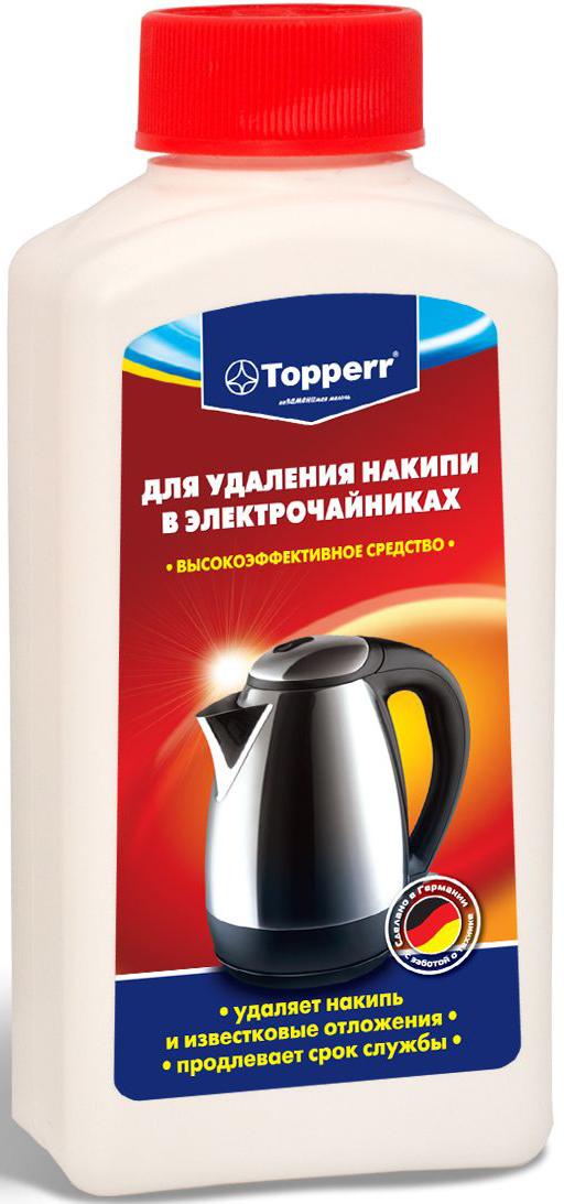 Средство от накипи Topperr для чайников и водонагревательных приборов, 250 мл3031Концентрированное средство Topperr для очистки от накипи чайников и водонагревательных приборов эффективно удаляет образовавшийся в процессе использования известковый налет. Бережно относится к внутренним деталям водонагревательных приборов и продлевает срок службы. Не токсично. Способ применения: Чайники и водонагревательные приборы: налить 1 л воды в чайник (резервуар). В зависимости от загрязнения добавить 100–120 мл средства. Нагреть раствор до 50°С и оставить действовать на 30 мин. Затем вылить раствор, тщательно прополоскать и прокипятить емкость. Кофеварки: налить 200 мл воды в резервуар кофеварки и добавить 50 мл средства. Включить кофеварку и прогнать около 100 мл раствора. Выключить кофеварку и дать остаткам раствора подействовать около 15 мин. Затем пропустить остатки раствора и дважды прогнать чистой водой. Товар сертифицирован.