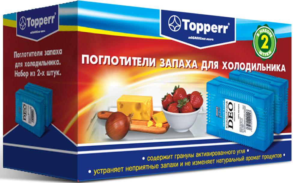 Поглотитель запаха для холодильника Topperr, 2 шт3105Поглотитель запаха для холодильника Topperr полностью удаляет неприятные запахи в холодильнике. Средство содержит гранулы активированного угля, являющегося лучшим из адсорбентов. Активированный уголь способен полностью поглощать неприятные запахи даже таких продуктов, как чеснок, лук, сыр, рыба, не выделяя собственных запахов. Не воздействует на продукты и сохраняет их натуральные ароматы. Способ применения: Вскрыть защитную упаковку и поместить в холодильник. Эффективен в течение 2 месяцев с момента вскрытия защитной упаковки. Товар сертифицирован.