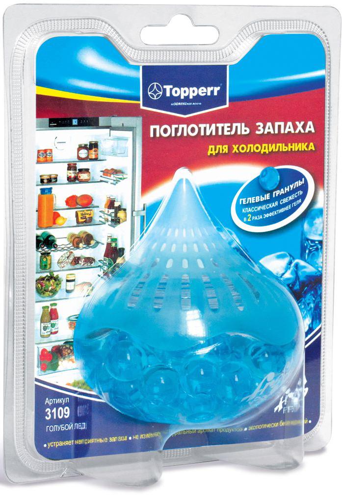 Поглотители запаха Topperr Голубой лед для холодильника, гелевый3109Длительное хранение пищевых продуктов в холодильнике вызывает появление неприятного запаха. Гелевый поглотитель изготовлен из безопасных минеральных и углеродных адсорбентов, экологически безвреден, предназначен для устранения неприятных запахов в холодильной камере. Благодаря свой форме, гелевые шарики позволяют свободно циркулировать воздуху, тем самым ускоряя процесс поглощения неприятного запаха вдвое по сравнению с другими поглотителями. Срок годности три года, с момента вскрытия защитной упаковки – 1,5 месяца. Вес: 100 г Способ применения: снимите защитную пленку, прикрепите круглую двустороннюю липучку на дно поглотителя, зафиксируйте поглотитель в любом удобном месте в Вашем холодильнике.