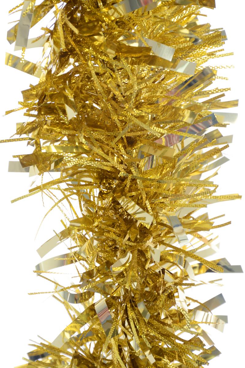 Мишура новогодняя Weiste, цвет: золотистый, диаметр 12 см, длина 2 м6862Новогодняя мишура Weiste, выполненная из ПВХ, поможет вам украсить свой дом к предстоящим праздникам. Мишура армирована, то есть имеет проволоку внутри и способна сохранять форму. Новогодняя елка с таким украшением станет еще наряднее. Новогодней мишурой можно украсить все, что угодно - елку, квартиру, дачу, офис - как внутри, так и снаружи. Можно сложить новогодние поздравления, буквы и цифры, мишурой можно украсить и дополнить гирлянды, можно выделить дверные колонны, оплести дверные проемы.