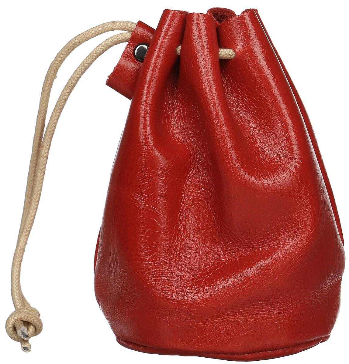 Монетница женская Cheribags, цвет: красный. 04К-1019-1604К-1019-16Монетница Cheribags выполнена из натуральной текстурной кожи. Внутри расположено отделение для монет. Изделие закрывается с помощью текстильного шнурка.