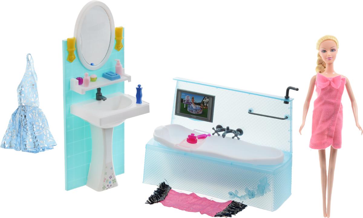 1TOY Игровой набор с куклой Ванная комната Стиль большого городаТ54501Оригинальный игровой набор с куклой 1TOY Ванная комната. Стиль большого города позволит каждой девочке обставить красивую ванную комнату для симпатичной куклы, которая также входит в комплект. Предметы интерьера, выполненные в нежной цветовой гамме, и различные аксессуары для водных процедур сделают любую сюжетную игру более реалистичной. Мебель для кукол - один из самых любимых аксессуаров у девочек, благодаря широким возможностям моделирования в игре различных ситуаций кукольной жизни. Очень уютная и современная ванная комната порадует своими удобством и многофункциональностью.