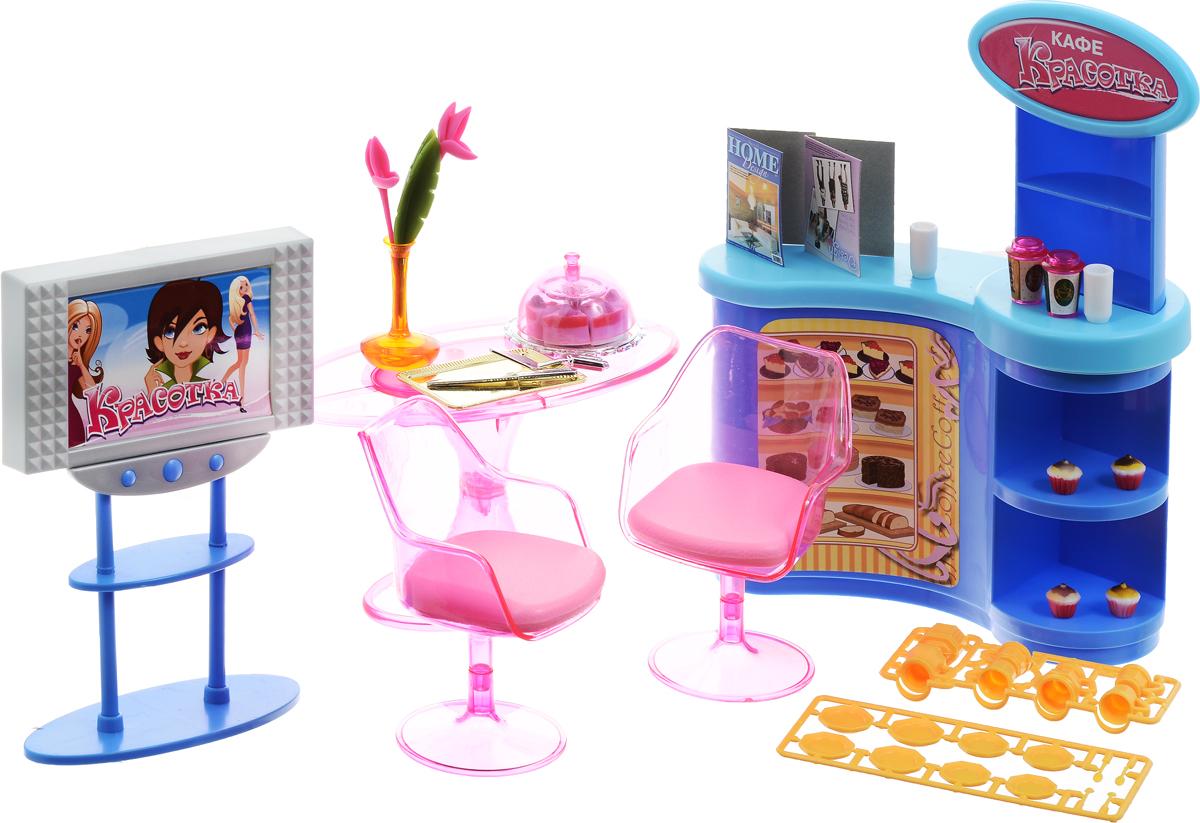 1TOY Мебель для кукол Кафе ГламурТ54503Мебель для кукол 1TOY Кафе Гламур позволит девочке представить себя в роли дизайнера интерьера, ведь у нее появится возможность обустроить кафе по своему вкусу и усмотрению. В комплект входят детали разнообразной мебели, а также большое количество аксессуаров, которые помогут придать обстановке неповторимости и оригинальности. Готовое кафе подойдет для любых куколок высотой 29 см. Все элементы набора выполнены из качественного и безопасного материала.