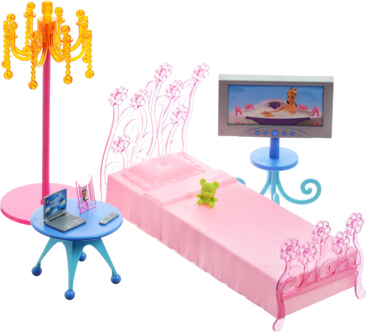 1TOY Мебель для кукол СпальняТ54507Мебель для кукол - один из самых любимых аксессуаров у девочек, благодаря широким возможностям моделирования в игре различных ситуаций кукольной жизни. Мебель для кукол 1TOY Спальня очень проста в сборке, сама девочка может собрать ее, а если ребенок еще мал, то это легко осуществимо вместе с родителями (в комплект входит инструкция). В комплект входят детали мебели, из которых предстоит собрать кукольную кроватку с резным изголовьем, торшер и телевизор. Также в набор входят и другие предметы спальни. Подходит для любых кукол высотой 29 см.