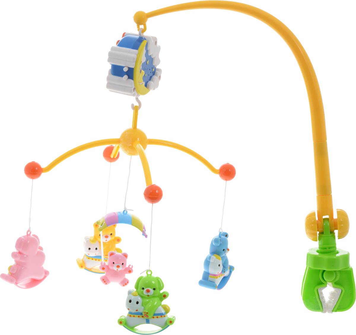Умка Мобиль Музыкальная карусель с колыбельными песнями310C-MRМобиль Умка Музыкальная карусель с колыбельными песнями необходима для вашего малыша. У него легкое крепление к кроватке, что отлично развлечет ребенка если он рано проснулся. Мобиль имеет двусторонний вращающийся элемент, пять фигурок медвежат, поет девять популярных колыбельных песен. Такая игрушка развивает концентрацию внимания и фокусировку взгляда. Яркие цвета помогают развить визуальное восприятие окружающего мира. Колыбельные способствуют развитию слухового восприятия малыша, успокаивают и развлекают ребенка. Игрушка выполнена из высококачественного и безопасного пластика. Рекомендуется докупить 2 батарейки напряжением 1,5V типа ААА (товар комплектуется демонстрационными).