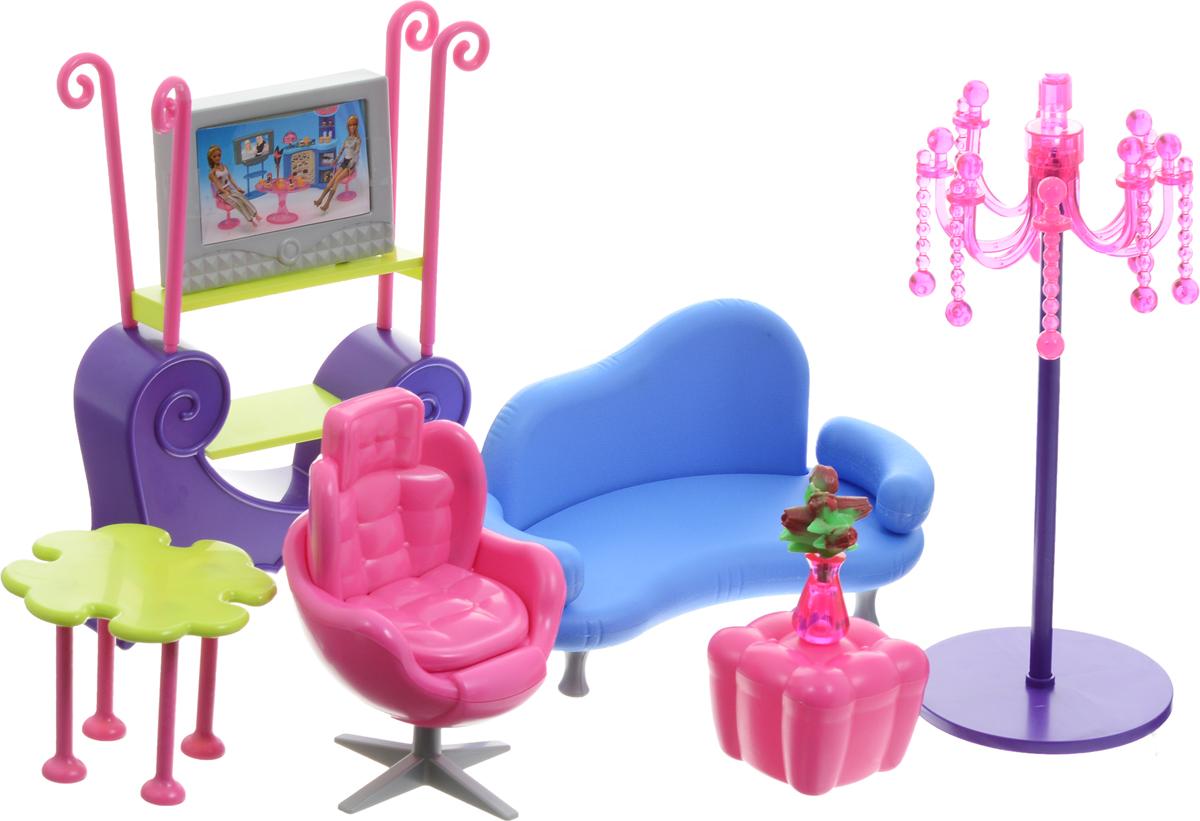 1TOY Набор мебели для кукол Гостиная КрасоткаТ54504С помощью набора мебели 1TOY Гостиная ваша малышка сможет собрать современную комнату для своих куколок, которая порадует своим удобством и многофункциональностью. Набор включает в себя элементы для сборки дивана, столика, телевизора с тумбочкой и кресла. Дополняют интерьер удобный пуфик, оригинальный торшер и аксессуары. Гостиная легко собирается и подходит для любых кукол высотой до 29 см. Помещается в большой кукольный домик. Ваша малышка будет часами играть с набором, придумывая различные истории. Порадуйте ее таким замечательным подарком!