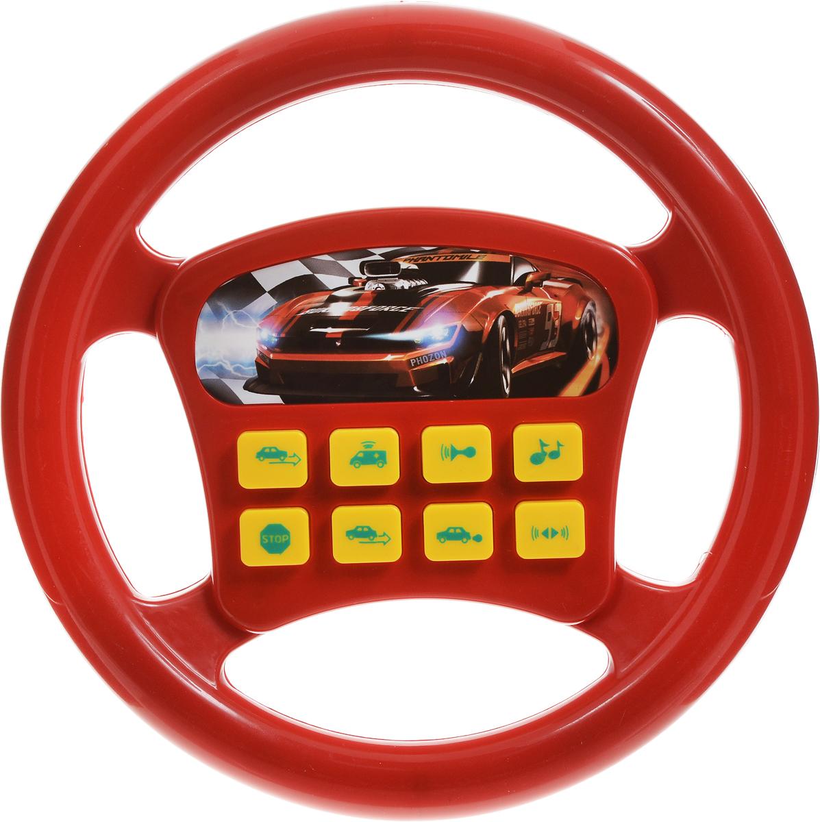 Играем вместе Игрушечный руль Машина цвет красныйA695-H05002-R2_красныйИгрушечный руль Играем вместе Машина не оставит равнодушным вашего юного автолюбителя. Теперь ваш ребенок сможет фантазировать и представлять себя водителем в любом месте: и дома, сидя на стуле, и на заднем сиденье автомобиля во время поездки. Руль обладает множеством звуковых эффектов. Нажимая на одну из 8 кнопок, ребенок услышит звуки сирены, рычание мотора и множество других. Играя с рулем, малыш разовьет воображение и фантазию, ведь так здорово представлять себя водителем, который едет в необыкновенное путешествие. Необходимо купить 2 батарейки напряжением 1,5V типа АА (не входят в комплект).