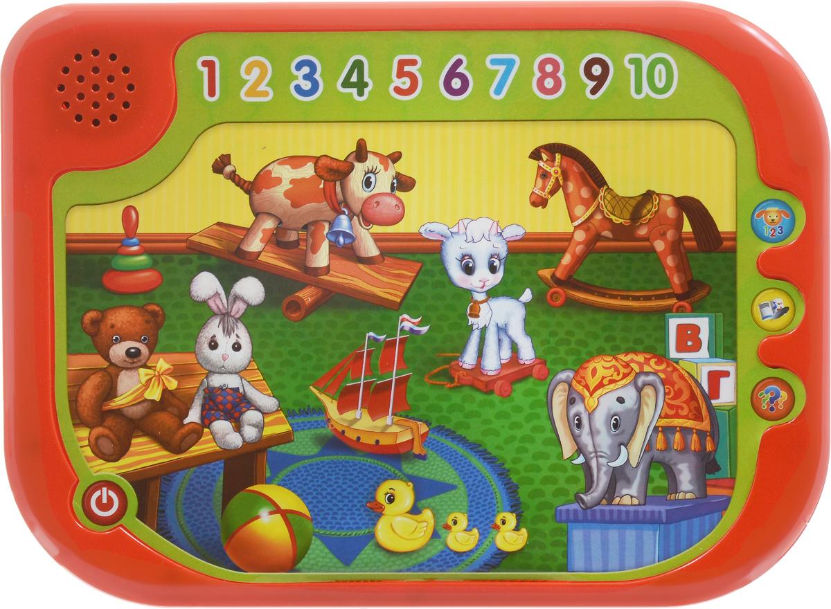 Умка Обучающий планшетQC1324RОбучающий планшет Умка - это развивающая игрушка, которая расскажет детям о цветах, цифрах, названиях животных и их голосах. В программе имеется 4 стихотворения знаменитой детской поэтессы Агнии Барто и 5 песенок на ее стихи. Обучение проходит по-настоящему - в конце ребенок сможет сдать экзамен. Для работы игрушки необходимы 2 батарейки типа ААА напряжением 1,5V (товар комплектуется демонстрационными).