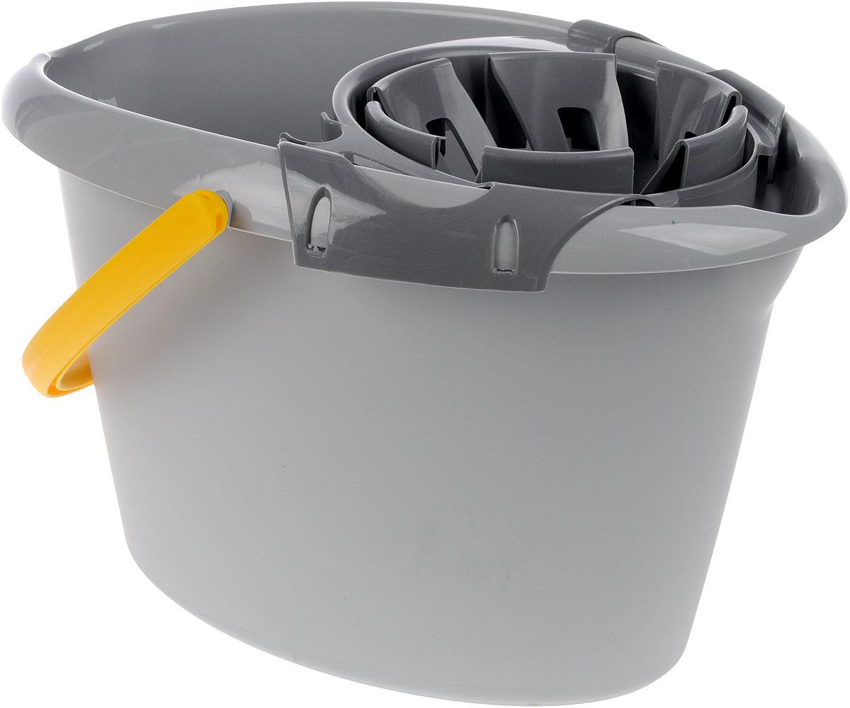 Ведро Apex, с насадкой для отжима швабры, цвет: серый, желтый, 12 л10390-A_серый, желтыйОвальное ведро Apex изготовлено из прочного пластика. Изделие порадует практичных хозяек. Ведро снабжено специальной насадкой с технологией Power Press, которая обеспечивает интенсивный отжим ленточных швабр. Это значительно уменьшает физические нагрузки при мытье полов. Насадка надежно крепится на ведро и также легко снимается, позволяя хранить ее отдельно. Для удобного использования ведро имеет пластиковую ручку и носик для выливания воды.