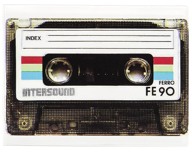 Обложка для зачетной книжки Kawaii Factory Ретро-кассета, цвет: белый, черный. KW067-000021KW067-000021
