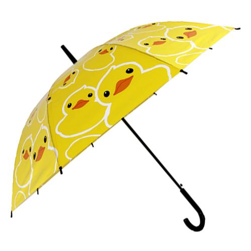 Зонт женский Kawaii Factory Yellow ducks, цвет: желтый. KW042-000088KW042-000088Зонт-трость в непогоду всегда был бесценным помощником всех красавиц. Его главные преимущества – большой купол и прочная конструкция. Этому аксессуару не страшен ни проливной дождь, ни сильный ветер.