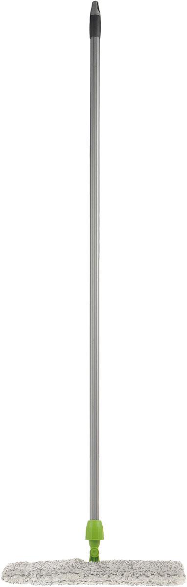 Швабра Мир чистоты Дуо, цвет: серый, зеленый, белый, длина 118 смEK013Швабра Мир чистоты Дуо идеально подходит для всех типов напольных поверхностей (плитка, паркет, ламинат, камень). Подвижная насадка, выполненная из пластика, оснащена двусторонней накладкой из микрофибры. Изделие используется для сухой и влажной уборки. Швабра оснащена черенком, изготовленным из стали и специальным отверстием для подвешивания. Швабра Мир чистоты Дуо обеспечивает высокое качество уборки без применения особых усилий. Длина швабры: 118 см. Размер насадки: 37,5 х 15 х 1,5 см.