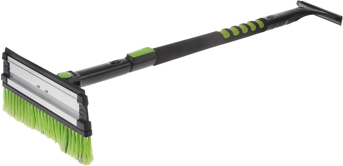 Щетка телескопическая Koto, со скребком и поворотной головкой, цвет: черный, зеленый, 98-140 смBWN-414_черный, зеленыйКомбинированная щетка для чистки снега Koto имеет удобную конструкцию и мягкую эргономичную ручку. Щетина изготовлена из искусственного материала средней жесткости. На обратной стороне щетки расположен съемный скребок. Он выполнен из прочного пластика и снабжен выступами для чистки льда. Щетка оснащена поворотной головой и телескопической ручкой. Длина щетки: 98-140 см. Ширина рабочей части: 27 см.