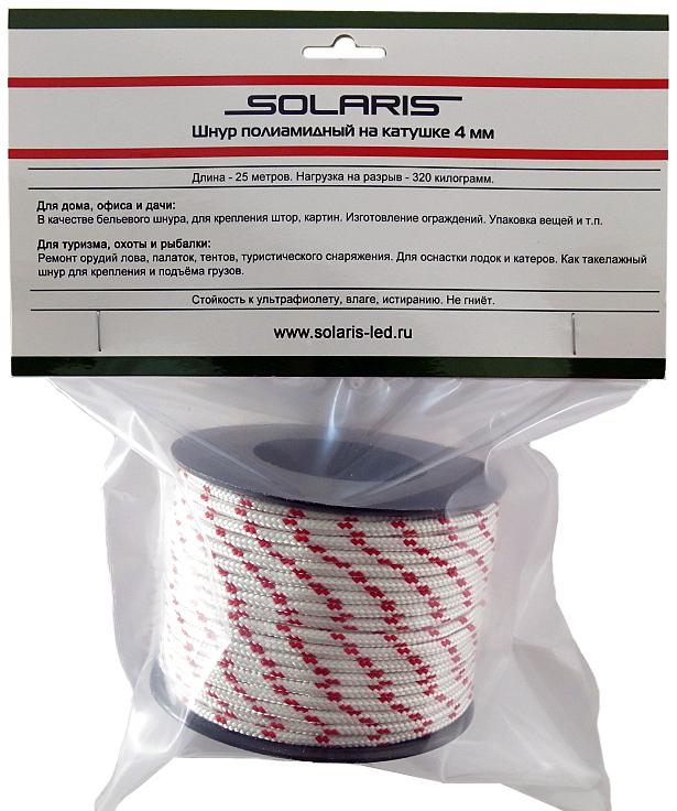Шнур полиамидный Solaris S6304, на катушке, 4 мм х 25 м, цвет: белый, красныйS6304Прочный многоцелевой плетеный шнур из полиамида, выдерживает нагрузку на разрыв 320 кг. В оболочку шнура вплетена красная маркировочная нить. Для удобства использования шнур намотан на катушку. Диаметр шнура 4 мм, длина 25 метров. Свойства и конструкция полиамидного шнура: Стойкость к солнечному излучению (ультрафиолет), влаге, истиранию, воздействию насекомых. Не подвержен гниению и плесени. Диапазон рабочих температур от -60 до +120 °С. Шнур диаметром 4 мм состоит из плотно сплетенных прядей вокруг сердечника. Благодаря такой конструкции шнур не расплетается при повреждении одной или даже нескольких прядей. Сферы применения полиамидного шнура: - Туризм, рыбалка, охота: Ремонт орудий лова, палаток, тентов, туристического снаряжения. Применяется для оснастки лодок и катеров, развешивания рыбы для сушки. Изготовление силков, снегоступов и т.п. - Дачное и домашнее хозяйство, для офиса: Подвязывание рассады,...