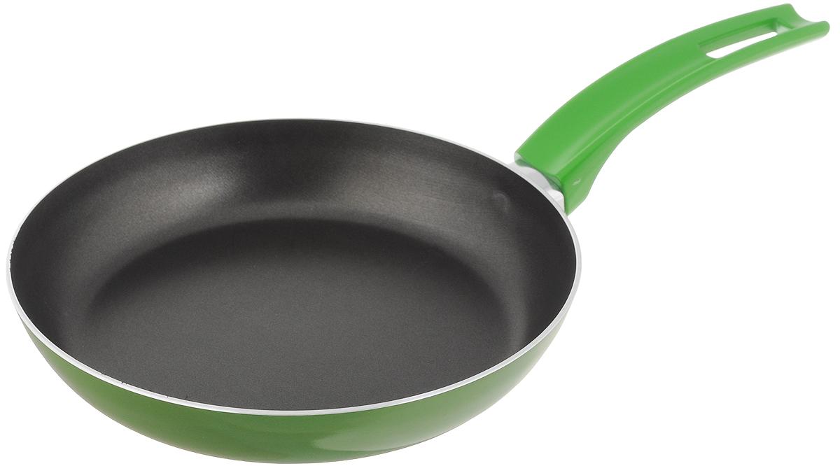 Сковорода Scovo Citrus Lime, с антипригарным покрытием. Диаметр 20 смRT-001LСковорода Scovo Citrus Lime выполнена из алюминия и имеет антипригарное покрытие. Покрытие исключает прилипание и пригорание пищи к поверхности посуды, обеспечивает легкость мытья посуды, исключает необходимость использования большого количества масла, что способствует приготовлению здоровой пищи с пониженной калорийностью. Для сохранения антипригарных свойств сковороды: - сковорода допускает применение деревянных и пластиковых аксессуаров - ложек, вилок, лопаток. Не используйте металлические аксессуары; - не допускайте сильного перегрева изделия без продуктов или воды - это может повредить антипригарное покрытие; - не допускайте приготовления или хранения в сковороде кислотных или щелочных растворов; - изделие не рекомендуется использовать в духовом шкафу. Сковорода оснащена пластиковой ручкой, благодаря чему она удобно уместится в руке и не выскользнет. Сковорода подходит для газовых, электрических и ...
