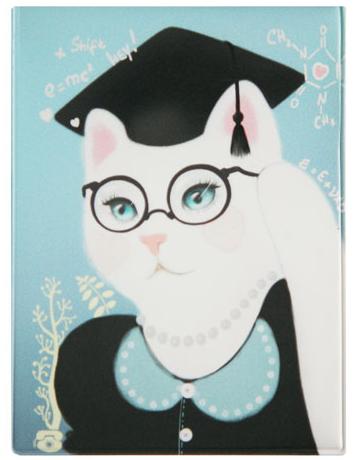 Обложка для студенческого Kawaii Factory Smart Kitty, цвет: голубой, черный. KW067-000008KW067-000008