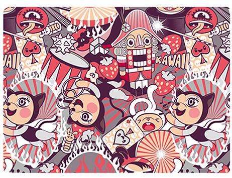 Обложка для студенческого Kawaii Factory Kawaii Circus, цвет: серый, красный. KW067-000027KW067-000027