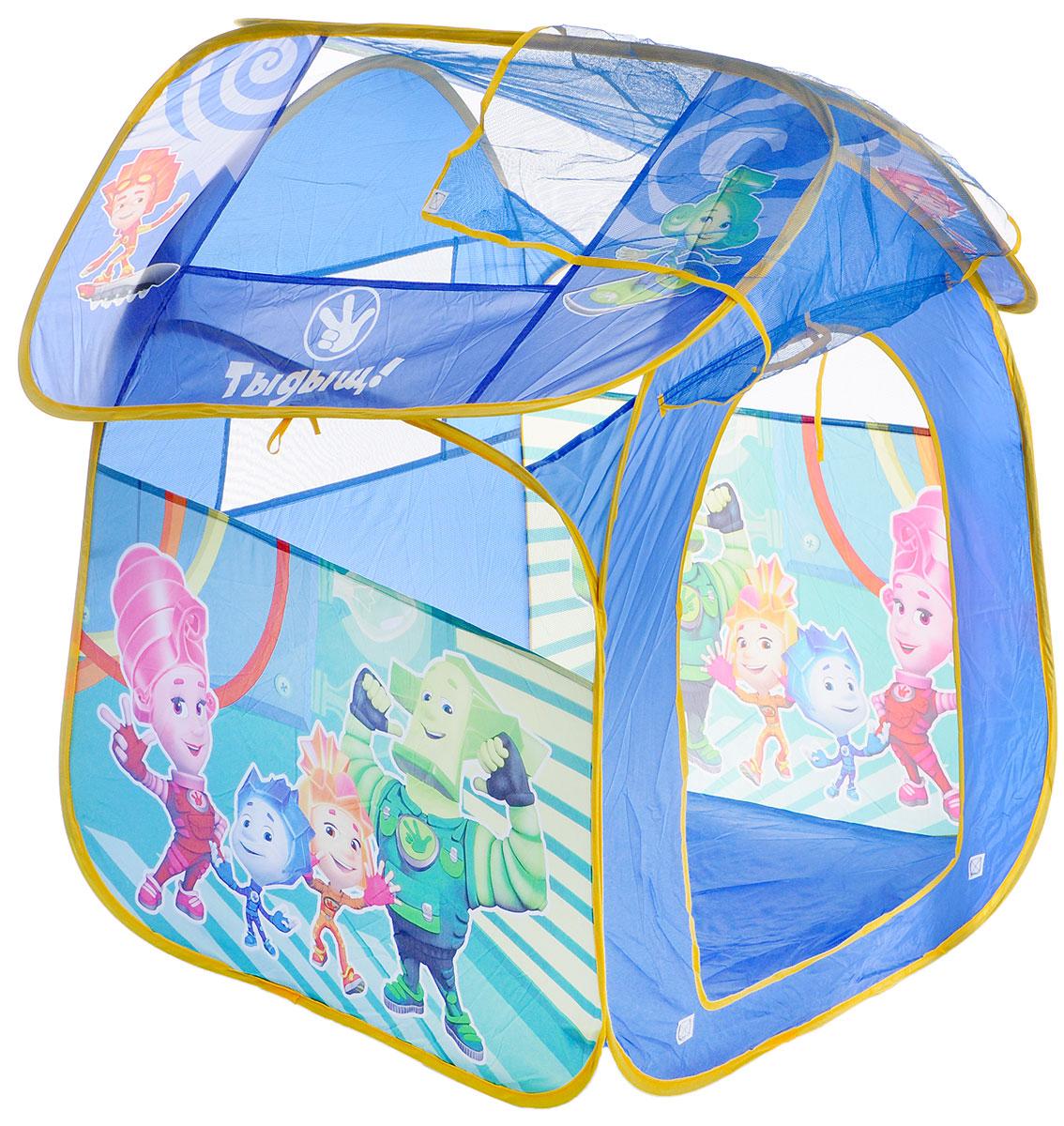 Играем вместе Детская игровая палатка Фиксики 83 х 80 х 105 смGFA-FIX-RДетская игровая палатка Играем вместе Фиксики идеально подойдет для детских игр как на улице, так и в помещении. Она выполнена в виде шатра, снабжена одним входом на липучке и окошками из сетчатого материала. Крыша привязывается веревочками. Палатка изготовлена из легкого текстильного материала ярких цветов. Каркас палатки поддерживается при помощи металлических прутьев. Благодаря своей легкости и компактным размерам в сложенном виде палатку легко перевозить и хранить. Складывается палатка в удобную сумку-чехол с ручками. Детская игровая палатка Играем вместе Фиксики - отличная игровая площадка для веселых и подвижных детей.