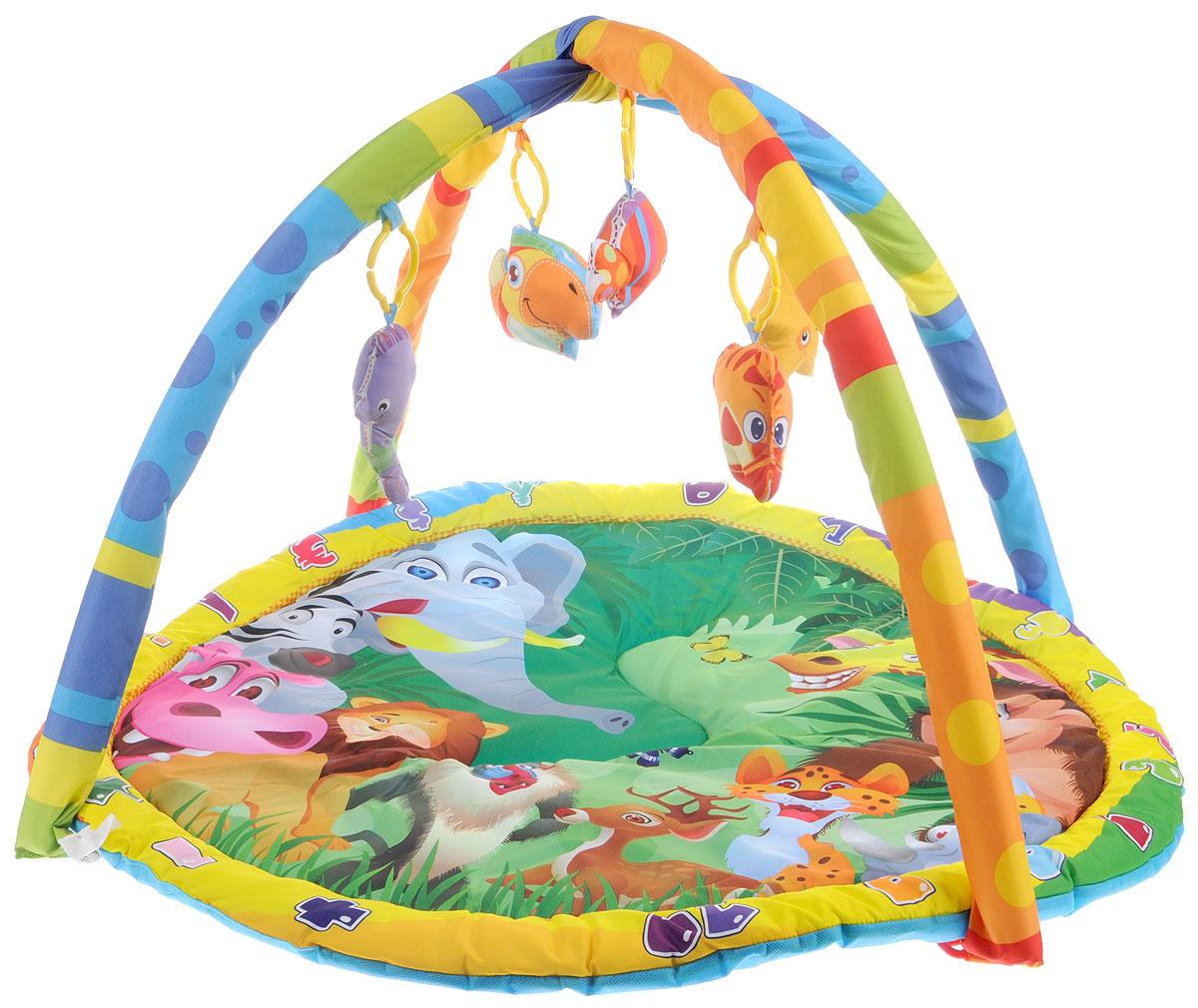 Умка Развивающий коврик B1387960-RB1387960-RРазвивающий коврик Умка прекрасно подойдет для развития ребенка с 6 месяцев. Изделие оснащено двумя съемными безопасными дугами. На них при помощи незамкнутых пластиковых колечек крепятся 5 игрушек с пищалками. На поверхности коврика изображены различные животные. Нажимая на подвесные игрушки, кроха развивает хватательные рефлексы и звуковое восприятие, а также запоминает как выглядят животные и учится различать цвета. С таким ковриком ребенок узнает о животных и насекомых, разовьет слуховое восприятие, мелкую моторику рук и координацию движений. Коврик выполнен из прочного и приятного на ощупь материала, который окрашен стойкими к истиранию, абсолютно безопасными красителями.