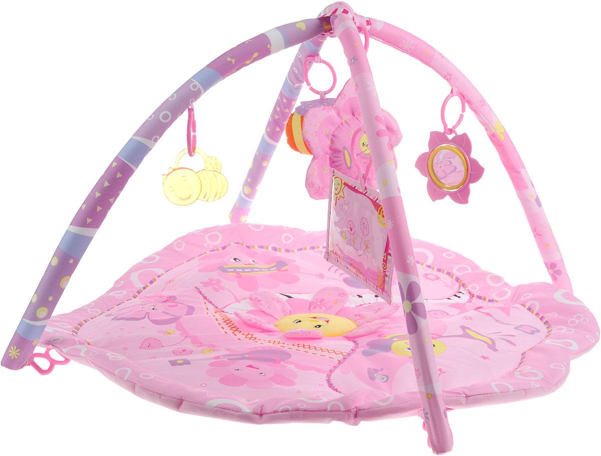 Жирафики Развивающий коврик Цветочки93589Мягкий развивающий коврик Жирафики Цветочки - идеальное игровое место для малыша. Все игрушки легко крепятся к дугам коврика с помощью незамкнутых пластиковых колечек. Если малыш нажмет на подвеску Цветок, то заиграет приятная мелодия. В лепестках цветка на коврике спрятаны вставки из шуршащего материала. Внутри подвески Пчелка - пищалка. В зеркале с безопасным покрытием малыш увидит свое отражение. В мягкую фоторамку можно вставить фотографию малыша. Все игрушки можно свободно снять и заменить на другие. Коврик легко складывается и удобен для хранения и перемещения благодаря сумке-чехлу с ручкой. Играя на коврике, ребенок развивает слуховое, зрительное и эмоциональное восприятия. Используйте коврик только на полу. Материал коврика и наполнителя 100% полиэстер.