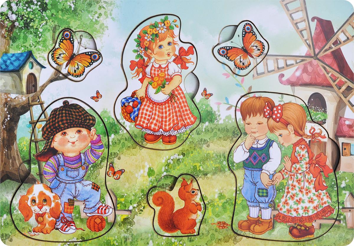 Фабрика Мастер игрушек Пазл для малышей Дети на природеIG0002Пазл для малышей Фабрика Мастер игрушек Дети на природе позволит развить мелкую моторику, координацию и ориентацию на плоскости; научит основам классификации. Пазл-вкладыш обогащает словарный запас ребенка, способствует целостному восприятию, расширяет представление малыша об окружающем мире и развивает любознательность.