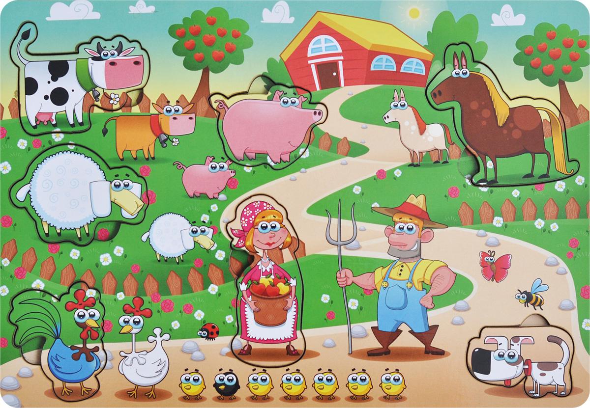 Фабрика Мастер игрушек Пазл для малышей Большая фермаIG0006Пазл для малышей Фабрика Мастер игрушек Большая ферма познакомит ребенка с домашними животными и жизнью на ферме, позволит развить мелкую моторику, координацию и ориентацию на плоскости; научит основам классификации. Рамка представляет собой картинку с вырезанными частями. Чтобы получить целое изображение, необходимо правильно подобрать недостающие кусочки и вставить их. Произносите вслух названия обитателей фермы на вкладышах – это позволит ребенку запомнить их названия и различать между собой.