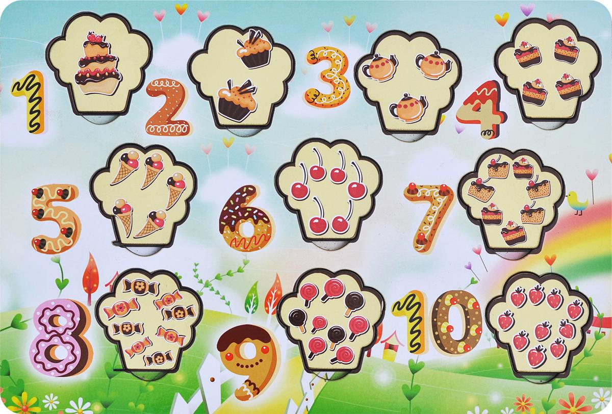 Фабрика Мастер игрушек Пазл для малышей Сладкие цифрыIG0008Пазл для малышей Фабрика Мастер игрушек Сладкие цифры познакомит ребенка с основами счета и цифрами, позволит развить мелкую моторику, координацию и ориентацию на плоскости; научит основам классификации. Рамка представляет собой картинку с вырезанными частями. Чтобы получить целое изображение, необходимо правильно подобрать недостающие кусочки и вставить их. Произносите вслух количество и названия предметов на вкладышах – это позволит ребенку запомнить их названия и соотносить между собой.
