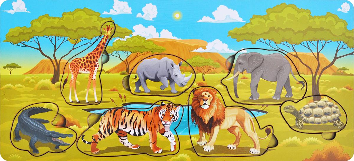 Фабрика Мастер игрушек Пазл для малышей СафариIG0020Пазл для малышей Фабрика Мастер игрушек Сафари познакомит ребенка с обитателями африканской саванны, позволит развить мелкую моторику, координацию и ориентацию на плоскости; научит основам классификации. Рамка представляет собой картинку с вырезанными частями. Чтобы получить целое изображение, необходимо правильно подобрать недостающие кусочки и вставить их. Произносите вслух названия животных на вкладышах – это позволит ребенку запомнить их и различать между собой.