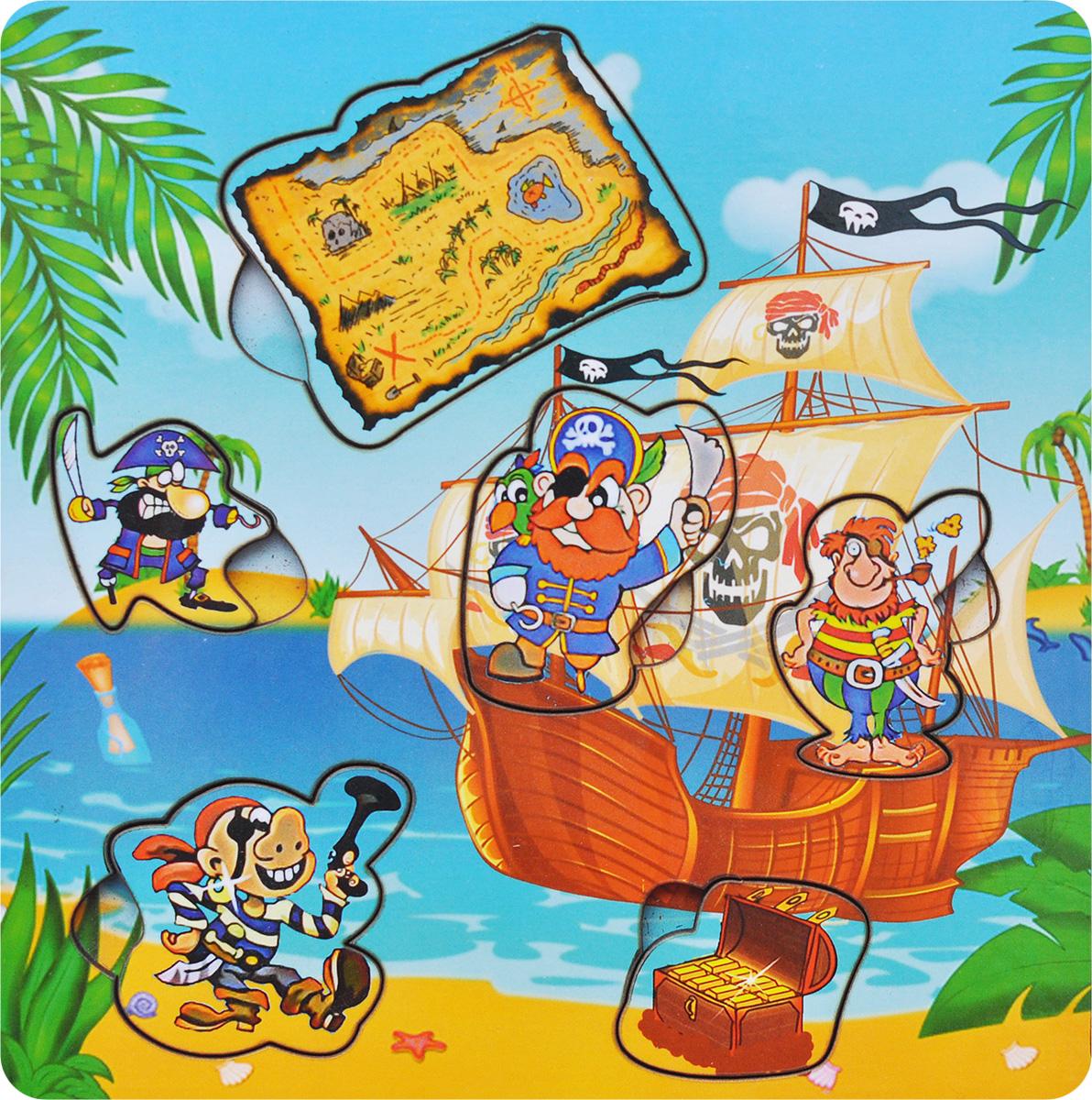 Фабрика Мастер игрушек Пазл для малышей Пираты с картойIG0023Пазл для малышей Фабрика Мастер игрушек Пираты с картой познакомит ребенка с героями морских приключений, позволит развить мелкую моторику, координацию и ориентацию на плоскости; научит основам классификации. Пазл-вкладыш обогащает словарный запас ребенка, способствует целостному восприятию, расширяет представление малыша об окружающем мире и развивает любознательность.