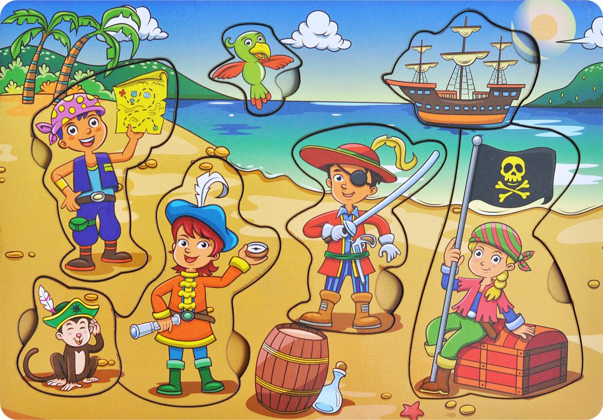 Фабрика Мастер игрушек Пазл для малышей Дети-пиратыIG0028Пазл для малышей Фабрика Мастер игрушек Дети-пираты познакомит ребенка с героями морских приключений, позволит развить мелкую моторику, координацию и ориентацию на плоскости; научит основам классификации. Пазл-вкладыш обогащает словарный запас ребенка, способствует целостному восприятию, расширяет представление малыша об окружающем мире и развивает любознательность.