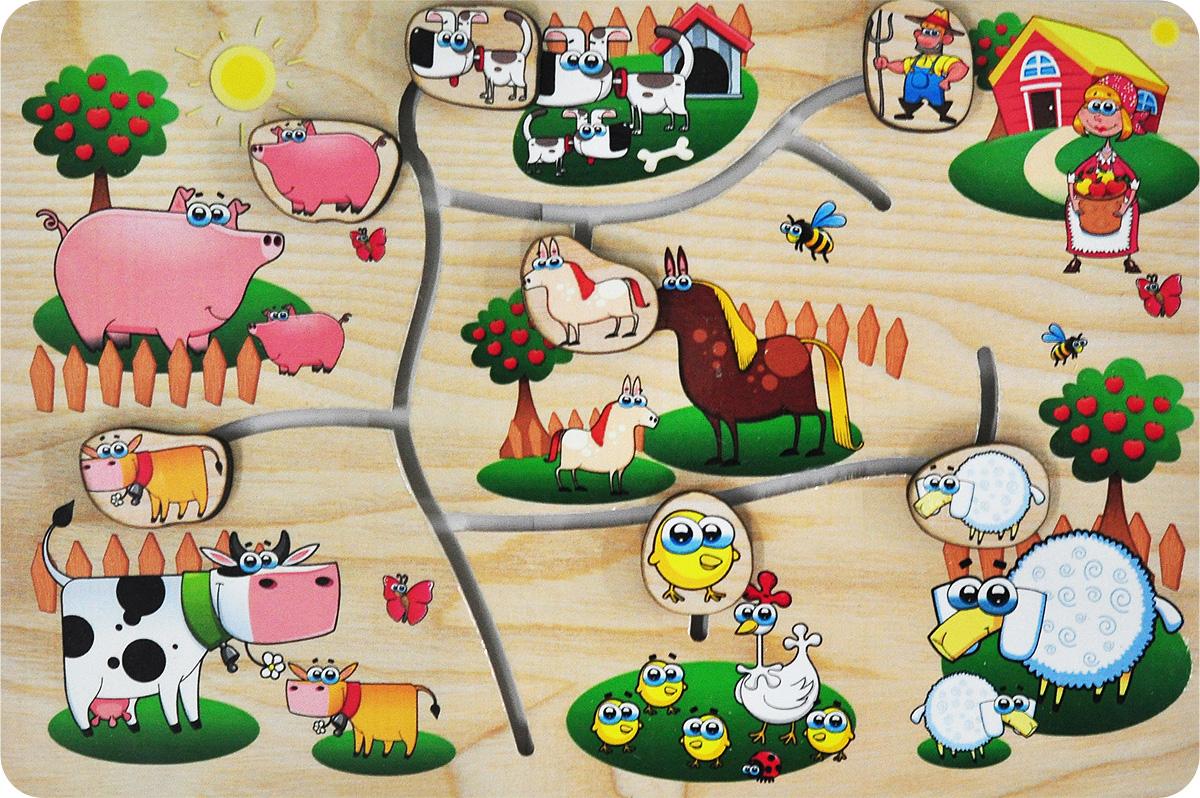 Фабрика Мастер игрушек Обучающая игра На фермеIG0059Обучающая игра Фабрика Мастер игрушек На ферме познакомит ребенка с обитателями крестьянского подворья, позволит развить мелкую моторику, координацию и ориентацию на плоскости; научит основам классификации. Игра-лабиринт обогащает словарный запас ребенка, способствует целостному восприятию, расширяет представление малыша об окружающем мире и развивает любознательность.