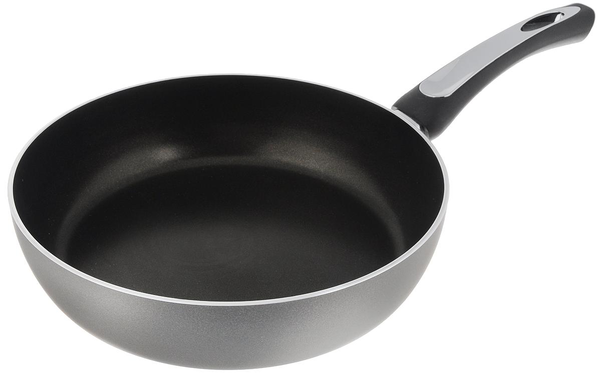 Сковорода Scovo President, с антипригарным покрытием. Диаметр 26 смSP-004Сковорода Scovo President выполнена из алюминия и имеет антипригарное покрытие. Покрытие исключает прилипание и пригорание пищи к поверхности посуды, обеспечивает легкость мытья посуды, исключает необходимость использования большого количества масла, что способствует приготовлению здоровой пищи с пониженной калорийностью. Сковорода оснащена пластиковой ручкой, благодаря чему она удобно уместится в руке и не выскользнет. Сковорода подходит для газовых, электрических и стеклокерамических плит. Также ее можно мыть в посудомоечной машине. Диаметр сковороды: 26 см. Высота стенки: 6,7 см.
