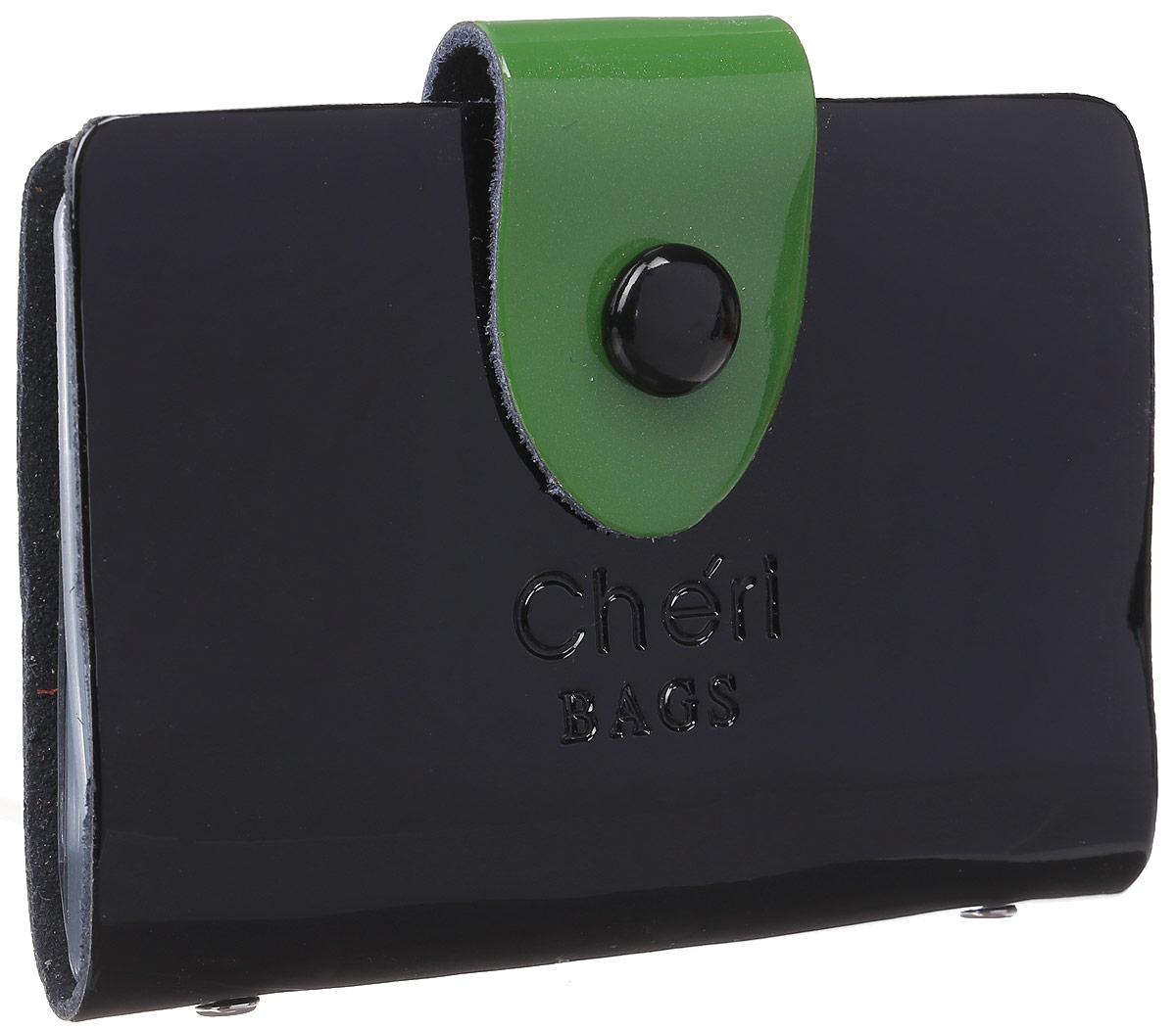 Визитница женская Cheribags, цвет: черный, зеленый. V-0499-10V-0499-10Визитница Cheribags выполнена из натуральной лаковой кожи и оформлена тисненой надписью с названием бренда. Изделие закрывается хлястиком на кнопку. Внутри расположено 26 файлов для визиток и карт.