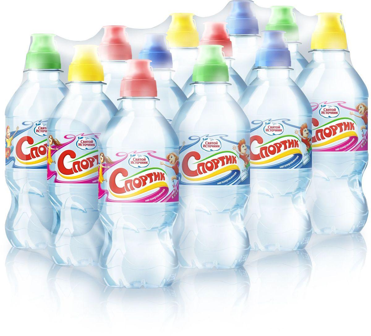 Святой Источник вода Спортик природная питьевая негазированная, 12 штук по 0,33 л