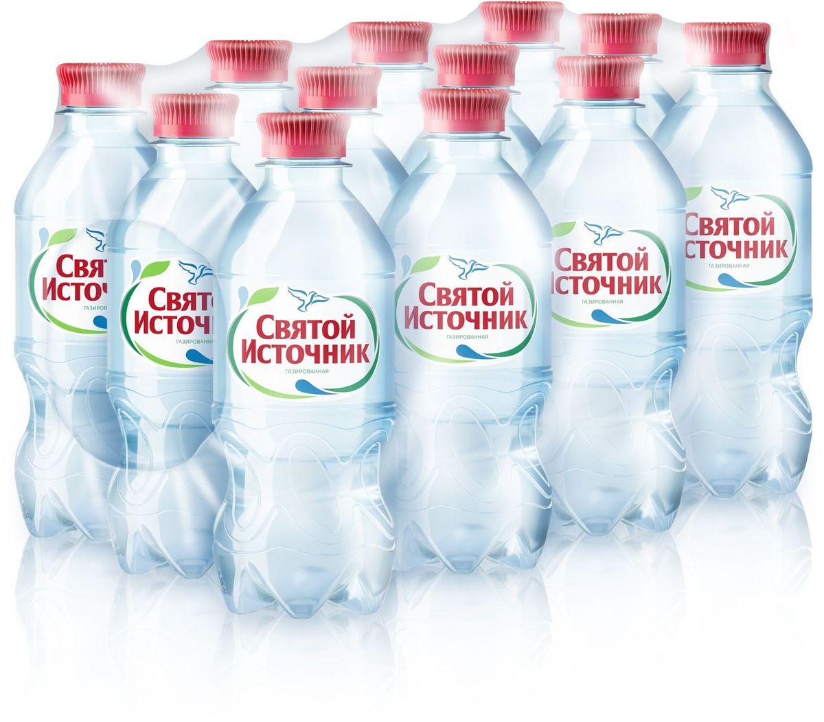 Святой Источник вода природная питьевая газированная, 12 штук по 0,33 л