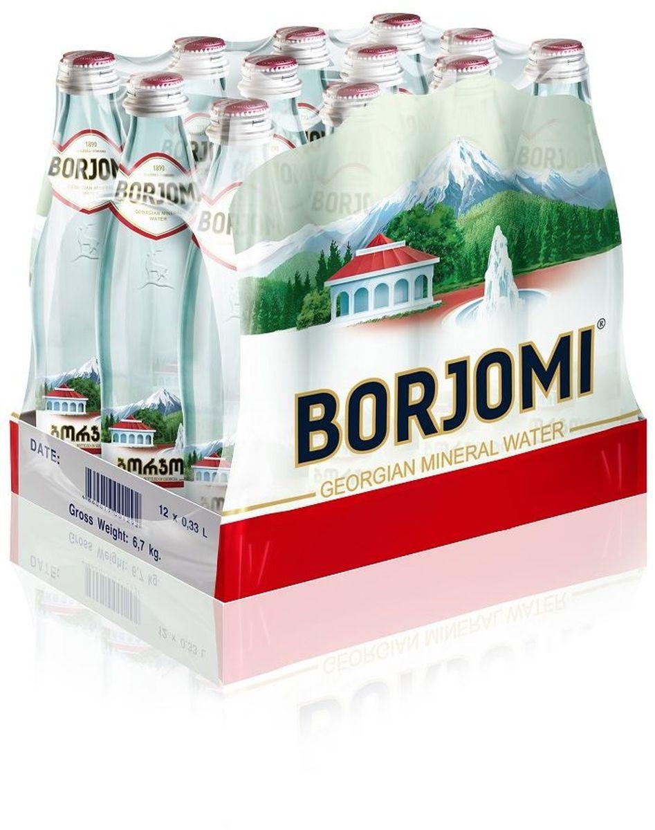 Вода Borjomi природная гидрокарбонатно-натриевая минеральная, 12 штук по 0,33 л