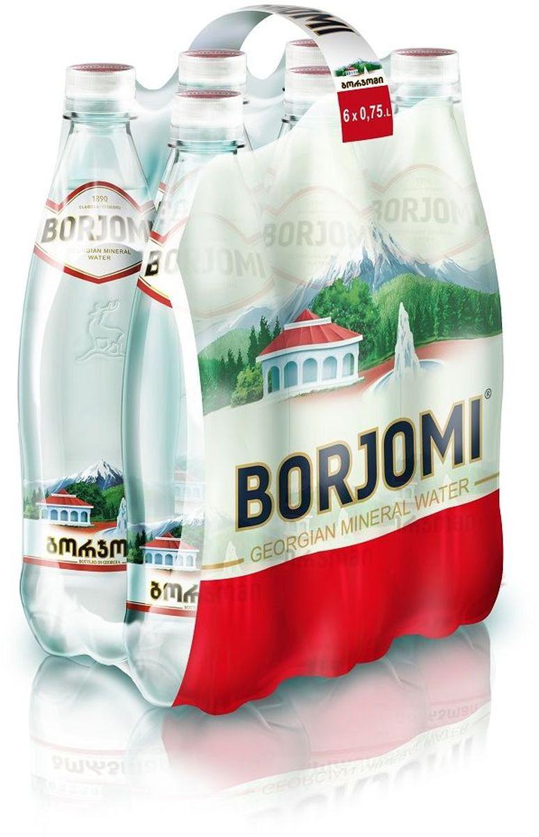 Вода Borjomi природная гидрокарбонатно-натриевая минеральная, 6 штук по 0,75 л