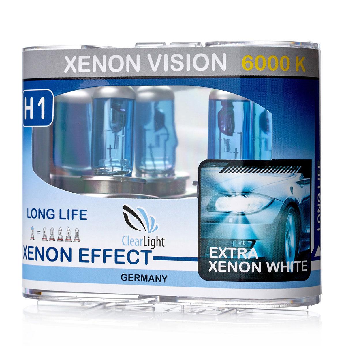 Лампа автомобильная галогенная Clearlight H1 XenonVision, 55 Вт, 6000 К, 2 штMLH1XVЛампа Clearlight H1 XenonVision предназначена для использования в автомобильных фарах. В колбе используется уникальная ксеноновая смесь высокого давления, что позволяет сделать нить накала тоньше и длиннее. Цвет света распределен от белого по центру фары к насыщенно-белому в середине и слегка с голубым оттенком цвета к краю пучка света. Уважаемые клиенты! Обращаем ваше внимание на возможные изменения в дизайне упаковки. Качественные характеристики товара остаются неизменными. Поставка осуществляется в зависимости от наличия на складе.