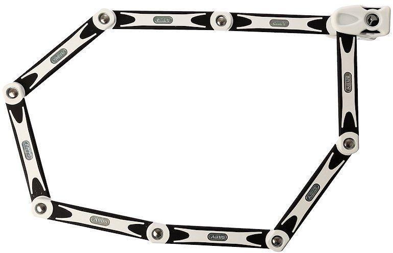 Велозамок с ключом Abus Bordo BIG 6000/120, цвет: белый541285_ABUSABUS Bordo 6000 — это cегментный замок из стальных пластин на подвижных шарнирах позволяет сочетать надежность U-замка и удобство цепи. Именно благодаря такому компромиссу серия Bordo получила огромную популярность в велосипедистов. Особенности: Шесть стальных пластин толщиной 5 мм Гибкое соединение пластин обеспечивает компактное транспортировки Пластины и корпус замка изготовлены из специальной закаленной стали Пластины надежно соединены специальными шарнирами Цилиндр замка высочайшего качества для надежной защиты против интеллектуальных методов взлома Полимерное покрытие пластин для защиты краски вашего велосипеда Легкий чехол замка фиксируется на место флягодержателя Размеры: Длина: 1200 мм, Толщина: 5 мм мм