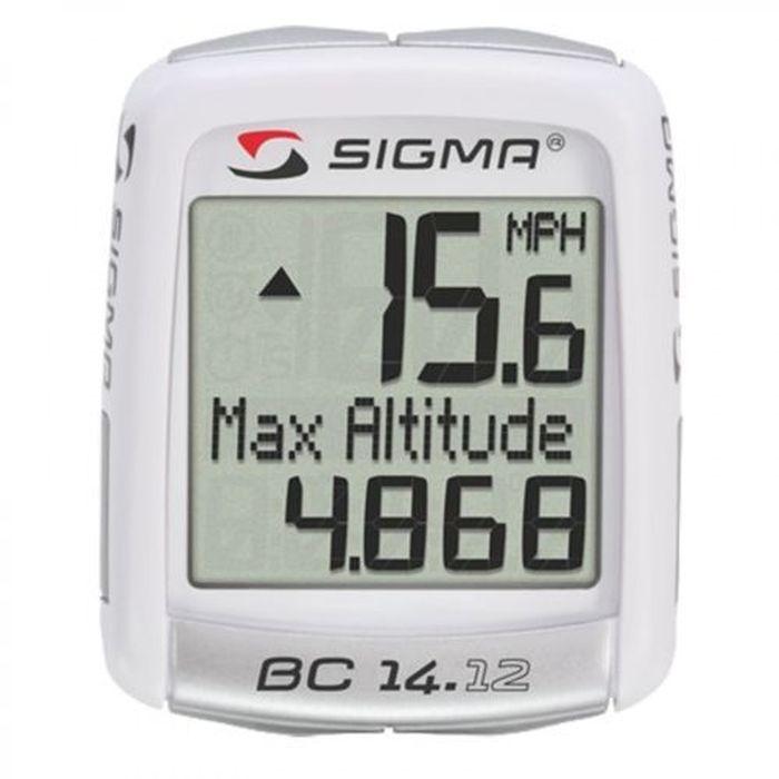 Велокомпьютер Sigma BC 14.12 Тopline, с альтиметромSIG_04150Функции: текущая скорость средняя скорость максимальная скорость сравнение текущей и максимальной скоростей дистанция поездки общий путь (не показывается во время движения) отдельный счетчик пути с ручным включением/выключением время в пути общее время за все поездки (не показывается во время движения) часы текущая температура текущая высота стартовая высота увеличение высоты за день максимальная высота за день общее увеличение высоты (не показывается во время движения) Автоматическое включение/выключение при езде и остановке Влагозащищен Сохранение данных при замене батарейки Индикатор разряда батареи компьютера и датчика Есть возможность подключения к компьютеру с помощью дополнительных аксессуаров Подсветка дисплея