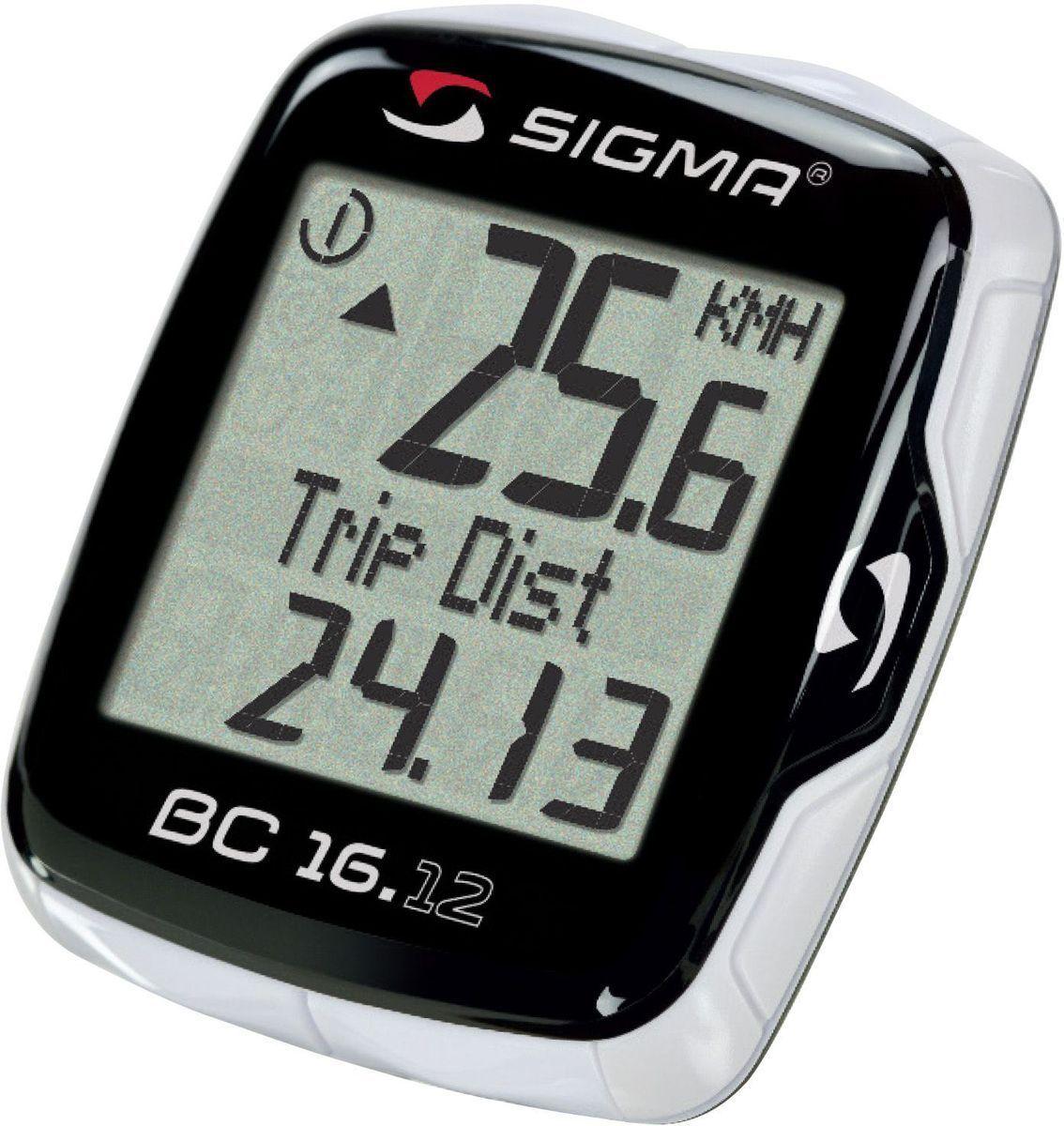 Велокомпьютер Sigma BC 16.12 Тopline 16 функцийSIG_06120Функции: текущая скорость средняя скорость максимальная скорость сравнение текущей и максимальной скоростей дистанция поездки общий путь для 1 / 2 / 1+2 велосипедов (не показывается во время движения) отдельный счетчик пути с ручным включением/выключением время в пути общее время 1 / 2 / 1+2 велосипедов (не показывается во время движения) отдельный счетчик времени с ручным включением/выключением часы таймер обратного отсчета текущая температура С этой моделью возможно использование каденса (докупается отдельно) Автоматическое включение/выключение при езде и остановке Влагозащищен Подсветка Сохранение данных при замене батарейки Индикатор разряда батареи компьютера и датчика Есть возможность подключения к компьютеру с помощью дополнительных аксессуаров