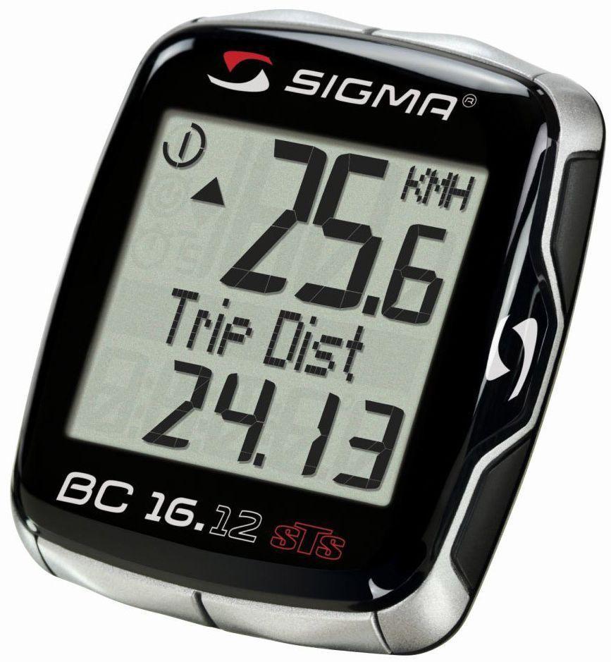 Велокомпьютер Sigma BC 16.12 STS Topline, 16 функцийSIG_06130Функции: текущая скорость средняя скорость максимальная скорость сравнение текущей и максимальной скоростей дистанция поездки общий путь для 1 / 2 / 1+2 велосипедов (не показывается во время движения) отдельный счетчик пути с ручным включением/выключением время в пути общее время 1 / 2 / 1+2 велосипедов (не показывается во время движения) отдельный счетчик времени с ручным включением/выключением часы таймер обратного отсчета текущая температура С этой моделью возможно использование каденса (докупается отдельно) Автоматическое включение/выключение при езде и остановке Автоматичекое распознавание второго велосипеда Влагозащищен Подсветка дисплея Сохранение данных при замене батарейки Индикатор разряда батареи компьютера и датчика Есть возможность подключения к компьютеру с помощью дополнительных аксессуаров
