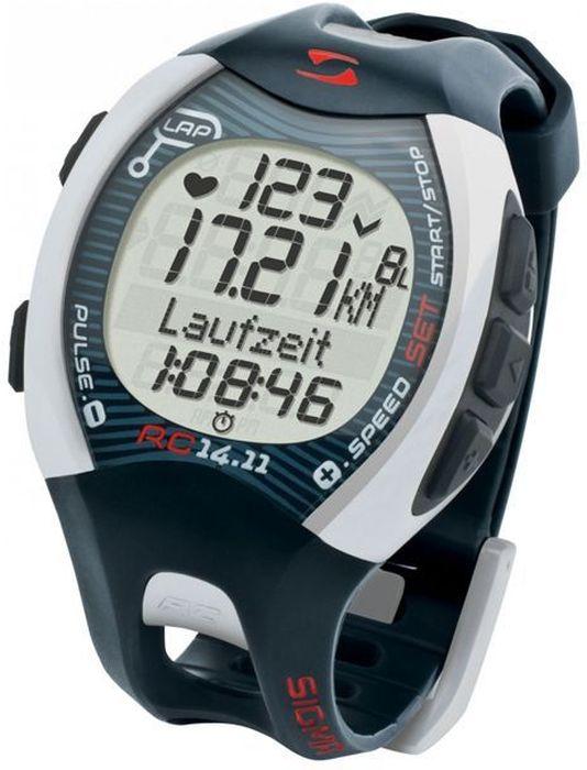 Пульсометр Sigma 14.11, c шагомером, цвет: серыйSIG_21410Пульсометр (кардиомонитор, монитор сердечного ритма) представляет из себя портативное устройство определяющее ваш пульс. Современные пульсометры снабжены и многими другими полезными функциями - подбор программы индивидуальной тренировки, определение максимальной скорости, беговой индекс, определение кол-ва сожженных во время тренировки калорий и пр. Характеристики пульсометра: Режим тренировки: Секундомер Расстояние (км) Скорость (км/ч или мин/км) Время бега Время круга/промежуточное время Средняя частота ритма сердца Максимальная частота ритма сердца Калории Остаточное время журнала Всего Ккал* Длина круга Средняя скорость Максимальная скорость Часы Общее расстояние Общее время бега С помощью RC 14.11 можно выполнять тренировки с кругами. Беговой компьютер сохраняет значения отдельных кругов или отрезков дистанции. После и во время тренировки можно просмотреть значения в режиме обзора...