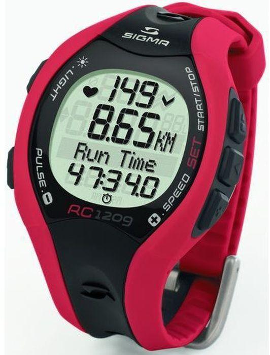 Пульсометр Sigma RC 1209, c шагомером, цвет: красныйSIG_25101Пульсометр (кардиомонитор, монитор сердечного ритма) представляет из себя портативное устройство определяющее ваш пульс. Современные пульсометры снабжены и многими другими полезными функциями - подбор программы индивидуальной тренировки, GPS-позиционирование, определение максимальной скорости, беговой индекс, определение кол-ва сожженных во время тренировки калорий и пр. Функции кардиомонитора: Измерение частоты сердечных сокращений, соответствующее точности ЭКГ Тональный сигнал кнопок 5 языков меню Подсветка экрана Средняя частота ритма сердца Максимальная частота ритма сердца Счетчик калорий Сигнализация выхода из пульсовой зоны Текущая скорость Средняя скорость Сравнение текущей и средней скорости Максимальная скорость Пройденное раcстояние Общее время тренировки Общее количество калорий Общее расстояние Расчет максимальной частоты ритма сердца Автоматическое управление тренировочной...