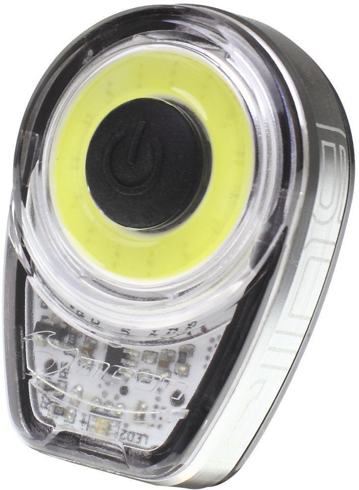 Фонарь передний Moon Ring, 1 диод, 6 режимов, USBWP_Ring_W1 плата из 15 диодов расположенных кругом, сверх яркое белое свечение - Алюмииевый корпус с отводом тепла - Литий Полимер аккумулятор (3.7V 280mAh) - USB порт - 6 режимов: Стандарт / Высоко / Максимум / 20% Вспышка /100% Вспышка /Стробоскоп - Быстросъемное крепление RB-22 (установка на любой руль) - 2 O-rings для крепления :RS-G (для 20-35mm диаметра); RS-H (для 35-52mm диаметра) - Индикатор разряда, зарядки и полной зарядки аккумулятора - Функция автоматического отключения при полной зарядке - Боковая заметность - Влагозащищенный (IPX 4) - Возможность крепления на ремни (рюкзаки, багажные сумки и.тд) - Размер:44 x 31.2 x 16.5 mm