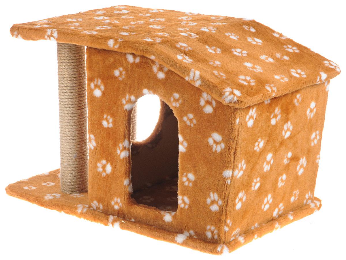 Игровой комплекс для кошек Меридиан Патриция, с домиком и когтеточкой, цвет: коричневый, белый, бежевый , 63 х 40 х 41 смД376 Ла_св. коричневый, белые лапыИгровой комплекс для кошек Меридиан Патриция выполнен из высококачественного ДВП и ДСП и обтянут искусственным мехом. Изделие предназначено для кошек. Ваш домашний питомец будет с удовольствием точить когти о специальные столбики, изготовленные из джута. А отдохнуть он сможет в оригинальном домике.