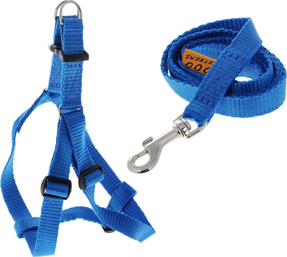 Шлейка для собак DOGExtremе, с поводком, цвет: синий, ширина 15 мм, обхват груди 40-55 см07032Шлейка DOGExtreme, изготовленная из прочного нейлона, подходит для собак. Крепкие металлические элементы делают ее надежной и долговечной. Шлейка - это альтернатива ошейнику. Правильно подобранная шлейка не стесняет движения питомца, не натирает кожу, поэтому животное чувствует себя в ней уверенно и комфортно. Размер регулируется при помощи пряжки. Изделие отличается высоким качеством, удобством и универсальностью. В комплекте нейлоновый поводок с металлическим карабином. Обхват груди: 40-55 см. Ширина шлейки: 1,5 см. Длина поводка: 117 см.