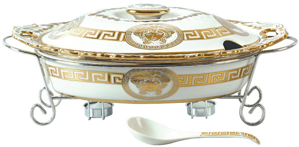 Мармит Madonna, цвет: белый, золотистый, 2,5 л. MA - 11371139MAФарфоровый мармит 2,5л. Овальное фарфоровое блюдо с крышкой. Подставка под 2 свечи (включены). Фарфоровая поварская ложка - 1шт. Фарфоровое блюдо подходит для духовки, можно ставить в посудомоечную машину.